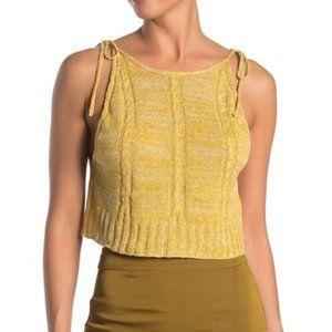 Free People Bombshell Crop Top Tank Knit Mustard L